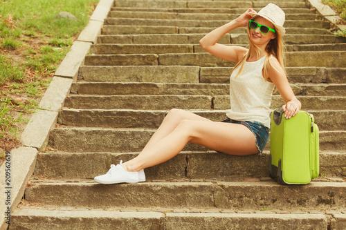 Foto Murales Lovely woman on trip journey in summer.