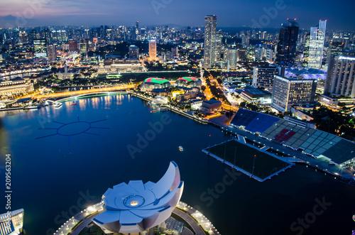 Aluminium Nachtblauw Singapour - Marina Bay