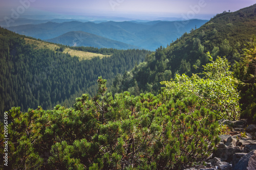 Fotobehang Blauwe jeans Beautiful mountains and blue sky in the Carpathians. Ukraine.