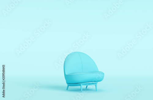 Modern Blue Sofa In Blue Room, Pastel Color Style. Minimal Style Concept.