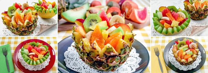 Fresh fruit salad. Two fresh fruit salad with kiwi, banana, peach, orange, red orange, apricot and melon in handmade melon and pinapple bowl. Collage of set photos. © Vlajko611