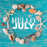 hello july text in circle of sea shells. title concept - 209569610