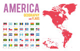 Set of 35 flags of America isolated on white background and map of America with countries situated on it.