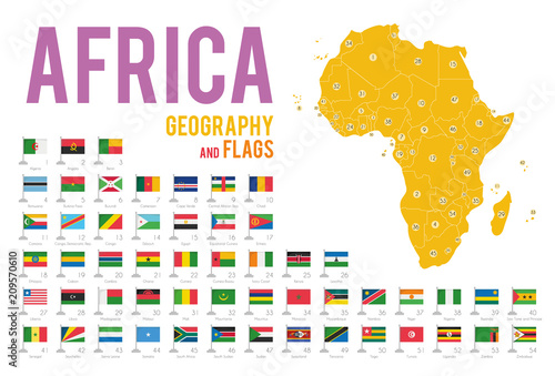 Set of 54 flags of Africa isolated on white background and map of Africa with countries situated on it.
