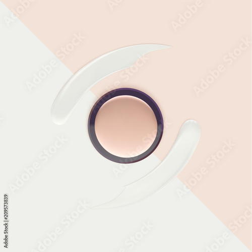 Pastel colors combination with white smear and round element. Liquid smudge, vector illustration. Beauty product design concept. - 209573839