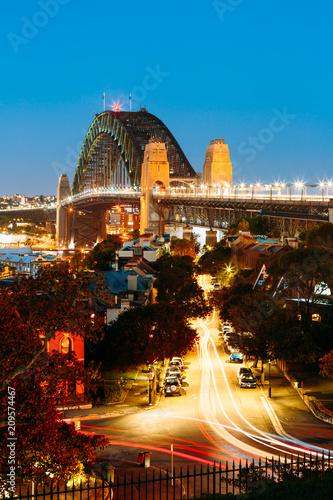 An overlooking view of Sydney Harbour Bridge during twilight