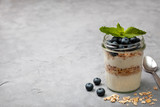 breakfast with muesli and blueberries