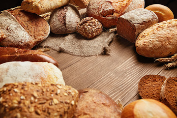Food. Bread And Bakery On Wooden Background