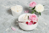 Chia Seeds Pudding With Coconut. Rose Flowers. Raspberry. - 209580071