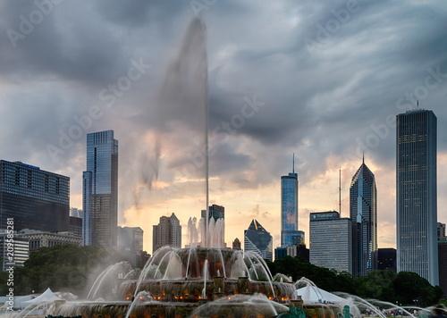Fotobehang Chicago Buckingham fountain in Grant Park, Chicago