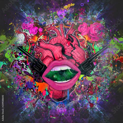 Canvas Reznik абстрактные магические розовые губы на абстрактном фоне