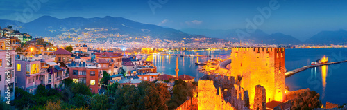 Panoramic view of Alanya harbour at night. Alanya, Turkey