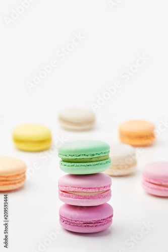 Plexiglas Macarons Macarons. Colorful French Macaroons Close Up