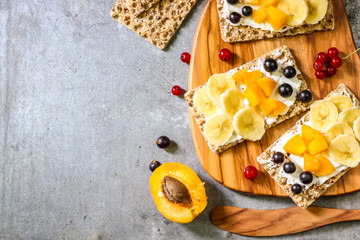 Crisp bread snack. Healthy breakfast