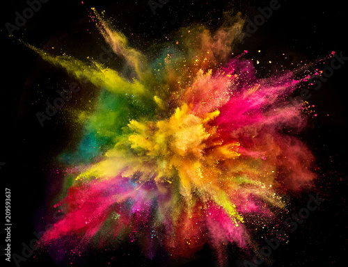 Leinwanddruck Bild Colored powder explosion on black background.