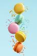 Macaron Dessert. Colorful Macaroons Flying - 209593889