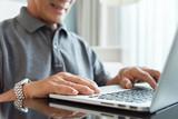 Senior man hand using laptop. - 209595252