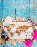 Summer traveling time. Sea holiday background with various shells. - 209595490