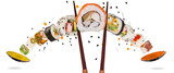 Pieces of delicious japanese sushi frozen in the air. - 209595691