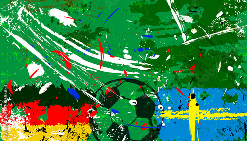 Aluminium Abstract met Penseelstreken Germany vs. sweden soccer/football illustration, grunge style with paint strokes and splashes,