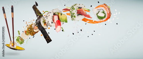 Pieces of delicious japanese sushi frozen in the air. - 209595895