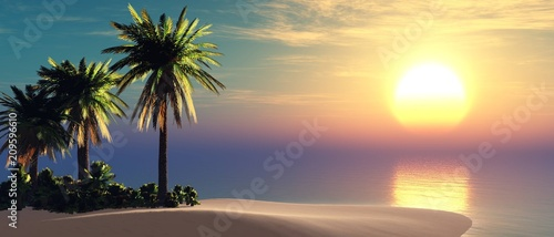 island with palm trees in the ocean, tropical beach,