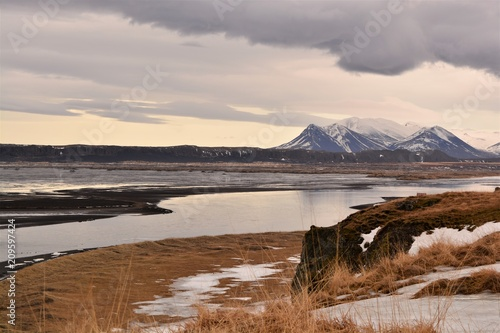 Mountains of into the distance in Iceland - 209597424