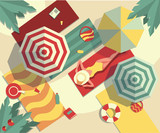 People spend their holidays on the beach under the palm trees. Vector illustration.