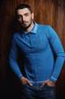 Leinwanddruck Bild - male model in blue