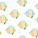Colorful kids seamless pattern with funny fish. Vector hand drawn illustration. - 209603860