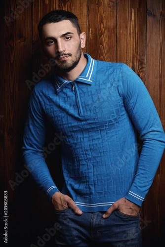 Leinwanddruck Bild male model in blue