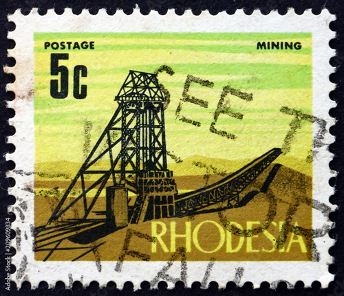 Postage stamp Rhodesia 1970 Mining, Industry