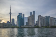 Toronto skyline and waterline  at sunset in summer