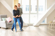 Leinwanddruck Bild - Happy mature couple dancing at home