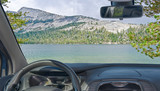Windshield view of lake in Yosemite National Park, California, USA - 209624231