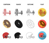 A megacity, a grand canyon, a golden gate bridge,donut with chocolate. The US country set collection icons in cartoon,black,outline,flat style vector symbol stock illustration web. - 209628840