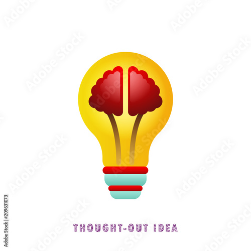 Thought-out idea. Light bulb with brain. Vector illustration. Flat. Gradient. © maxbol