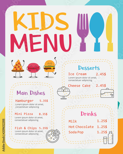 Cute colorful kids meal menu vector template - 209632288