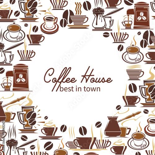 Coffee drink or beverage menu frame of cafe design