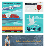 Mail delivery card of post service transportation - 209633404