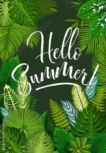 Lato tropikalny plakat z zielonych liści palmy