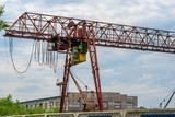 powerful large industrial crane and cloudy weather - 209635856