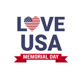 Memorial day USA greeting card wallpaper, national american flag with stars love on white background, template, flat design vector illustration - 209637461