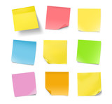 Set of colorful note papers with curled corners isolated on white background. Vector illustration. Can be use for your design, presentation, promo, adv. EPS10. - 209638482