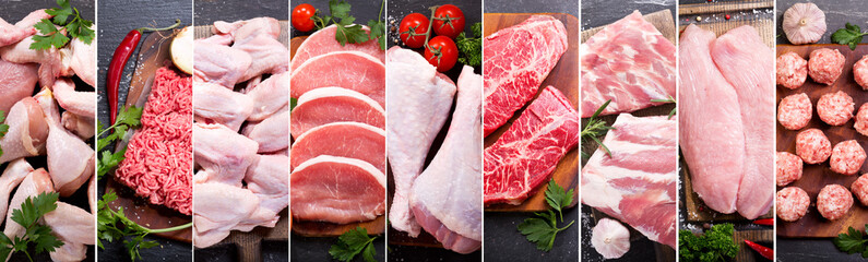 food collage of various fresh meat and chicken
