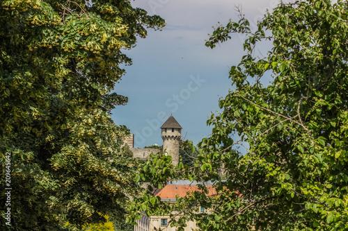 stara mała średniowieczna wieża między zielonymi gałązkami drzew