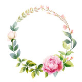 Watercolor vector hand painting wreath of peony flowers and green leaves. - 209647230
