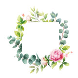 Watercolor vector hand painting wreath of peony flowers and green leaves. - 209647256