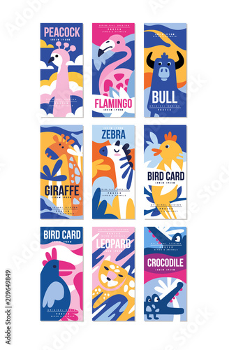 Birds and animals poster set, design element with peacock, flamingo, bull, giraffe, zebra, leopard, crocodile can be used for banner, greeting card, birthday party, invitation vector Illustration - 209649849
