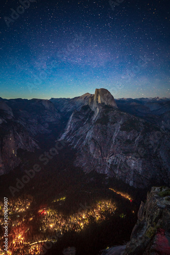 Starry Night above Half Dome and Yosemite Valley in Yosemite National Park
